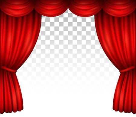 Red theater stage curtain with drapery