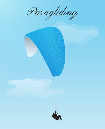 Flying paraglider with blue parachute and man Çizim