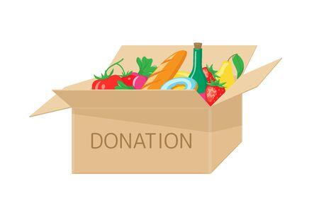 Donation box with food Illusztráció
