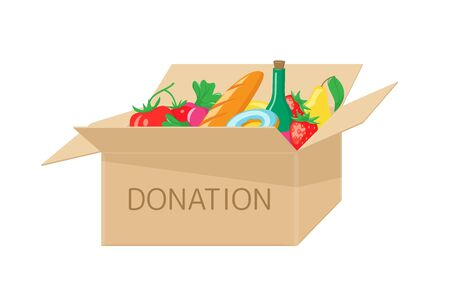 Donation box with food Illustration