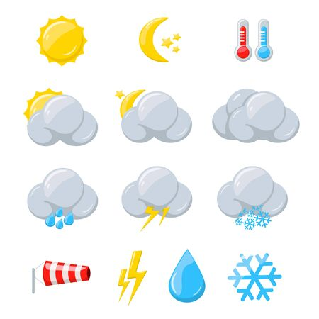 Weather icons for meteorology forecast with sun, moon, cloud and snow. Vector cartoon set of weather symbols with thermometer, windsock and water drop isolated on white background