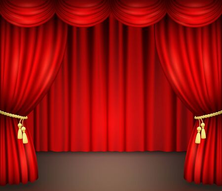 Red curtain with drapery on theater stage. Vector illustration of open velvet drapes with golden cord and tassels for movie, opera, drama performance or comedy show