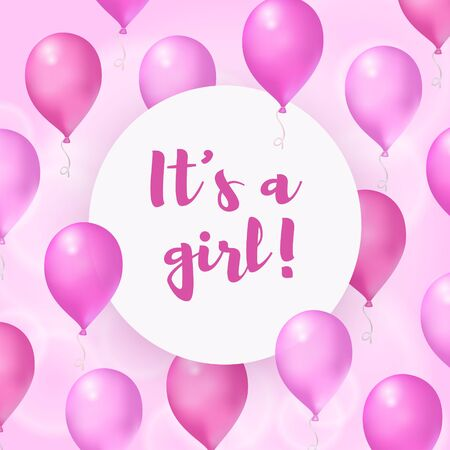Its a girl. Baby shower greeting card. Vector poster with pink air balloons and round banner with lettering. Birthday celebration, surprise party for new born Çizim