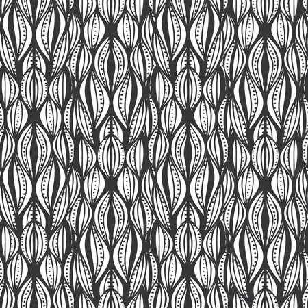 Abstract seamless pattern with hand drawn waves