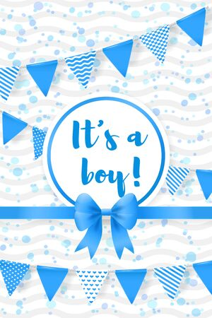 Its a boy. Baby shower greeting card with flags