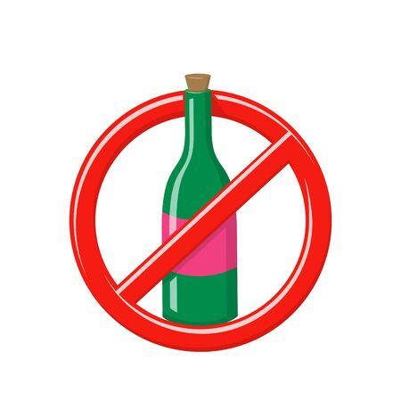 No alcohol sign. Forbidden drink symbol. Not allowed entrance with wine, beer, whiskey or champagne. Vector cartoon illustration of prohibited booze, red crossed out circle with green wine bottle