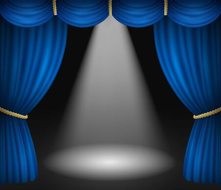 Theater stage with blue curtains and spotlight