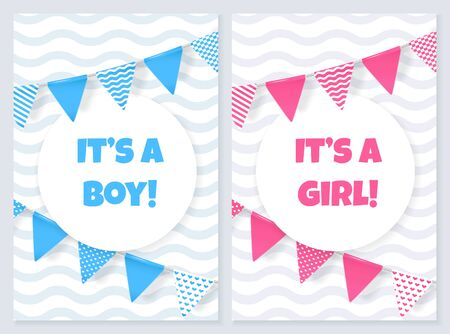 Its a boy. Its a girl. Baby shower card with flags