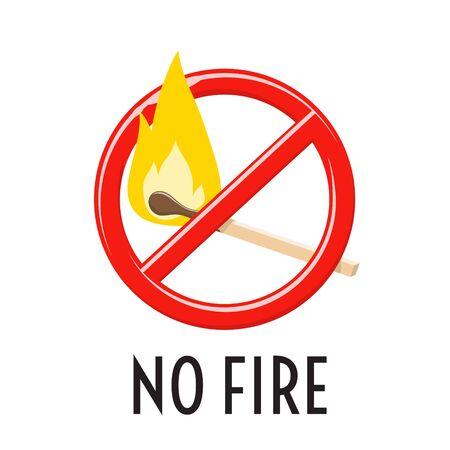 No fire sign. Forbidden open fire symbol