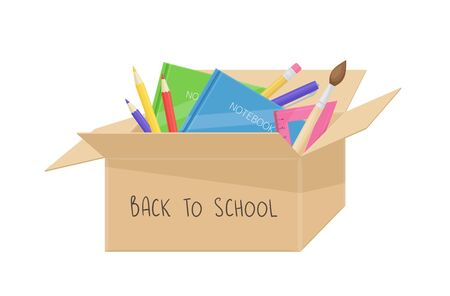 School stuff in cardboard box. Back to school concept. Vector cartoon illustration with education equipment, notebooks, brush, ruler, pencils and pen. Donation box with stationery items