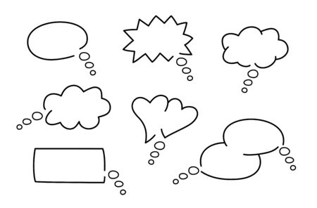 Comic speech bubbles in different shapes Çizim
