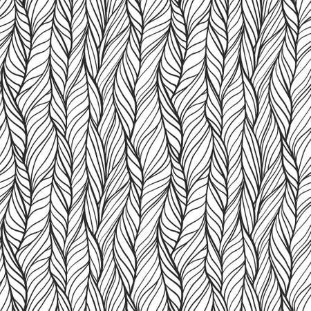 Hand drawn seamless pattern with braids Çizim