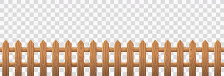 Vector realistic wooden picket fence Çizim