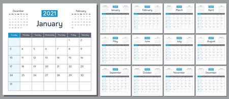 Vector 2021 calendar