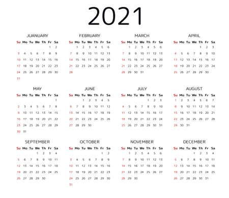 Calendar 2021 year Vectores