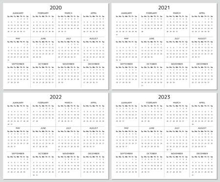 Calendar from 2020 to 2023 years