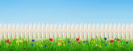 Wooden picket fence, flowers and green grass on background of blue sky. Vector realistic landscape with barrier with wood texture and summer meadow plants. Backyard, garden or lawn with enclosure Vector Illustration