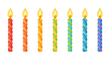Birthday cake candles with flame. Twisted wax sticks with burning wick isolated on white background. Vector cartoon set of colored striped candles for holiday party or christmas celebration