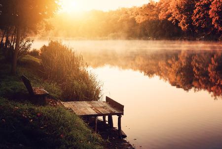 muskoka: Autumn lake Stock Photo