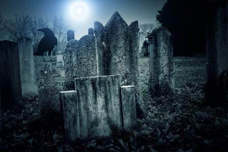 haunted: Cemetery at night