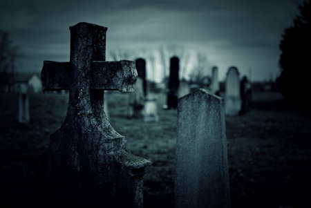 horror background: Cemetery at night