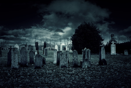 Cemetery at night Stock Photo - 35141367