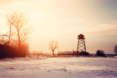 farm structures: Winter field Stock Photo