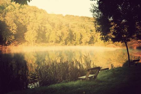 Lake in morning lights