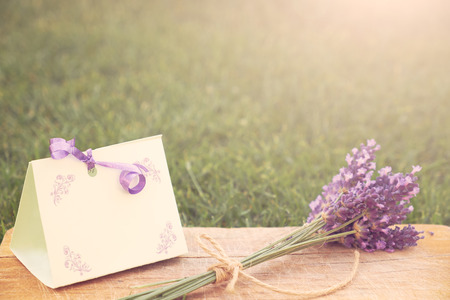 gift card: Lavender and greeting card Stock Photo