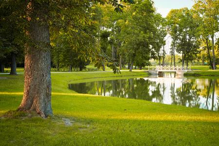 lake dwelling: Castle park Stock Photo