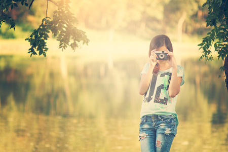 nature photography: Pretty photographer girl