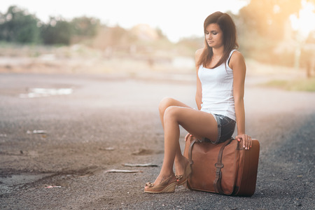 Beautiful traveller girl photo
