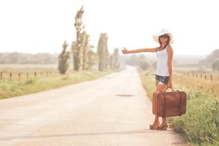 Beautiful traveller girl photo