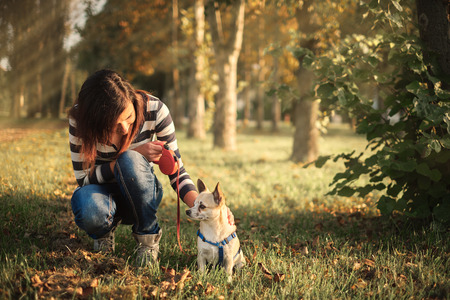 Pretty woman and little dog in the park photo