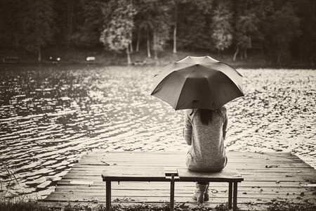 Girl umbrella photo