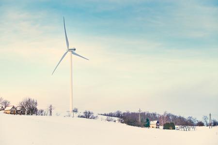 renewed: Wind turbines on winter field