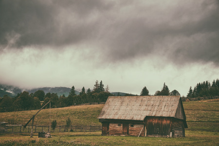 rickety: Old farm in transylvania Stock Photo