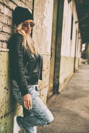 Blonde girl outdoor portrait photo
