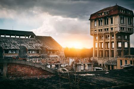 devastation: Old abandoned coal mine buildings Stock Photo