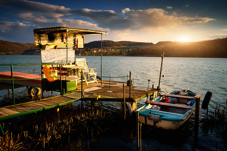 fishing hut: Fishing hut and fishing boat lake