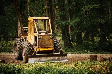 deforestacion: Tractor viejo en el trabajo de la deforestaci�n de bosques Foto de archivo