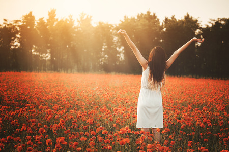 Young girl on poppy field hands up photo