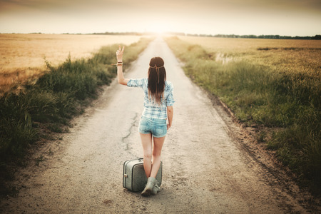 Traveler hippie girl photo