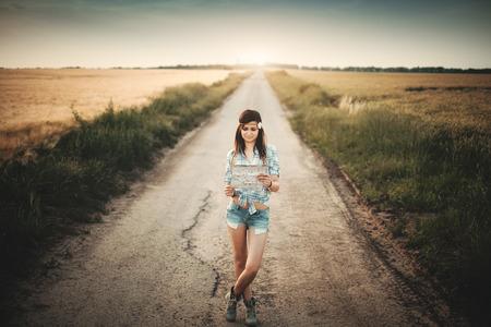 Traveler girl looking map photo