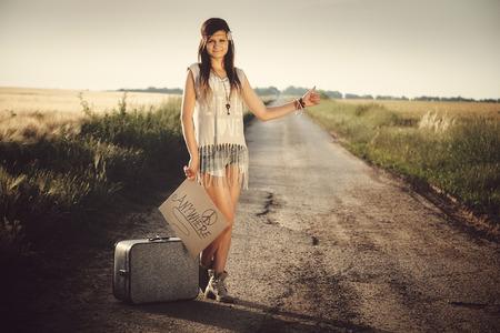 hippie girl: Traveler hippie girl