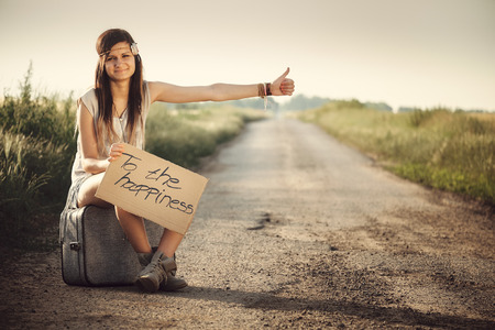 Traveler hippie girl photo
