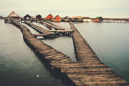 fishing huts: Fishing huts on a lake