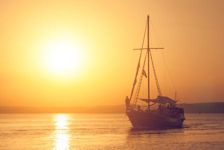 sunup: Boat sunset