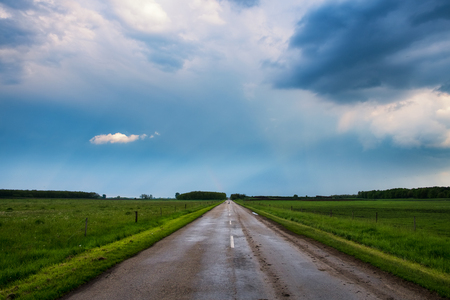 Country road stromy weather