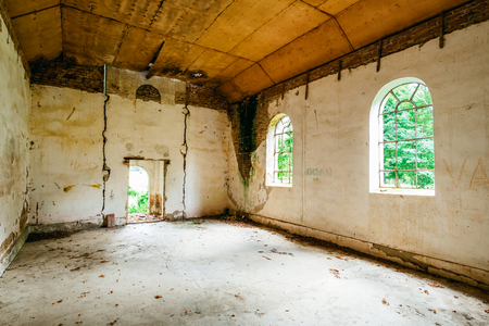 Old abandoned church interior Stock Photo